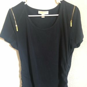 Michael Kors Scoop Neck Blouse with Gold Zippers